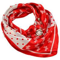 Šátek s bižuterií Stella - červenobílý