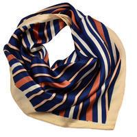 Šátek saténový - modrý pruhovaný