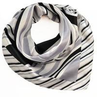 Šátek saténový - šedobílé pruhy