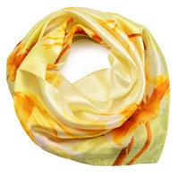 Šátek saténový - žlutý s květy