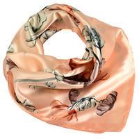 Šátek saténový - meruňkový s květy