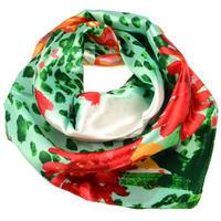Šátek saténový - zelený s potiskem