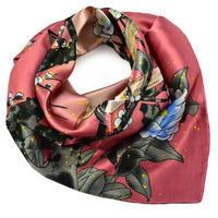 Šátek saténový - růžový s ptáky