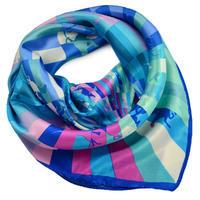Šátek saténový - modrorůžový