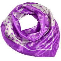 Šátek saténový - fialovobílý s potiskem