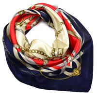 Šátek saténový - modročervený  s potiskem