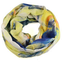 Snood 69tu004-01.30 - white and blue with flowers print