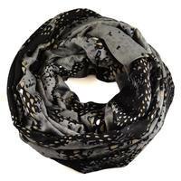 Tunelová šála 69tu007-71.70b - šedočerná hadí kůže