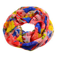 Summer infinity scarf 69tl004-23.30a - pink with flowers