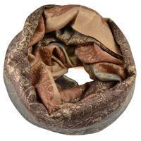 Tunelová zimní šála - hnědá s potiskem