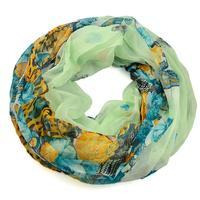 Summer infinity scarf 69tl004-50.10 - green with flowers