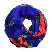 Summer infinity scarf 69tl004-30.20 - blue with red flowers