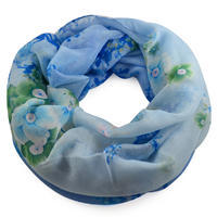 Tunelová šála 69tu004-31.30 - bledě modrá s květinami