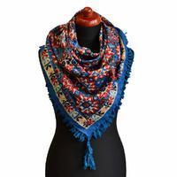 Velký šátek 69pl006-30.20 - modročervený s geometrickým vzorem
