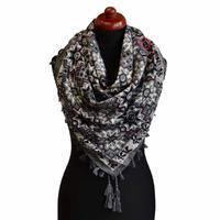 Velký šátek 69pl006-71.25 - šedý s geometrickým vzorem
