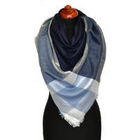 Big square scarf - blue chequer