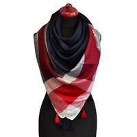 Velký šátek - modročervená lesklá kostka