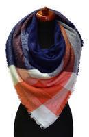 Velká šála 69pz013-11.30 - oranžovomodrá kostkovaná
