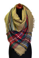 Blanket square scarf - brown and red