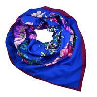 Velký šátek 63sv004-30 - modrý s kvetinami