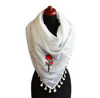 Velký šátek 69pl004-01 - bílý s nášivkou