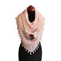 Velký šátek 69pl004-23a - růžový s nášivkou