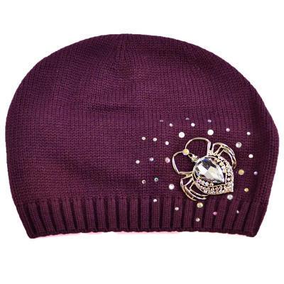 Pletená vlněná čepice - fialová