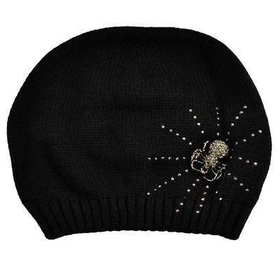Pletená vlněná čepice - černá