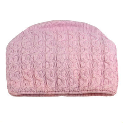 Pletená dámská čepice - růžová