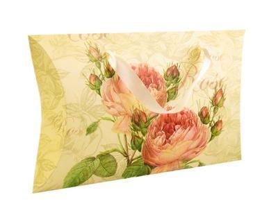 Dárková krabička béžová s růžovými květinami - 1