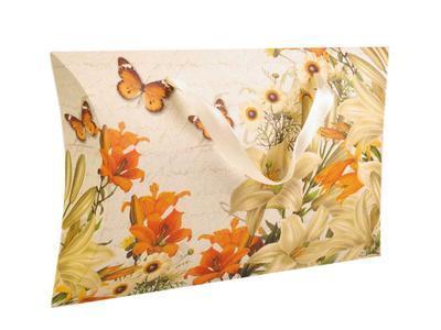 Dárková krabička béžová s oranžovými květinami - 1