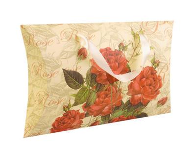 Dárková krabička béžová s červenými květinami - 1