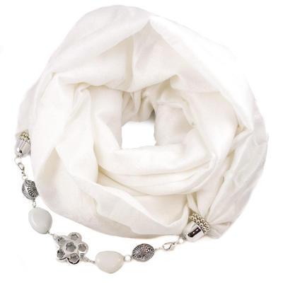Kašmírová šála s bižuterií - bílá