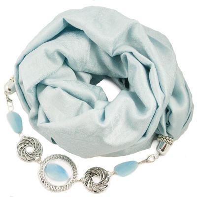 Kašmírová šála s bižuterií - světle modrá