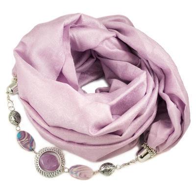 Kašmírová šála s bižuterií - bledě fialová