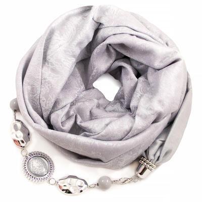 Kašmírová šála s bižuterií - světle šedá