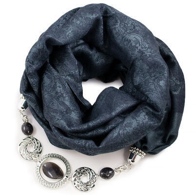 Kašmírová šála s bižuterií - tmavě šedá