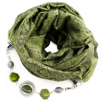 Kašmírová šála s bižuterií - zelená