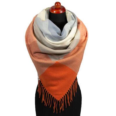 Maxi šála - oranžovo-šedá - 1