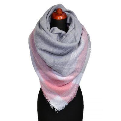 Maxi šála - šedo-růžová - 1