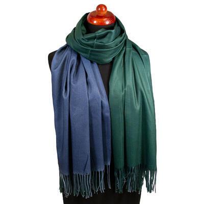 Maxi šála oboustranná - modro-zelená - 1