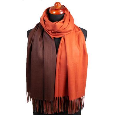 Maxi šála oboustranná - hnědo-oranžová - 1
