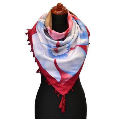 Maxi šátek - červenobílý se vzorem - 1