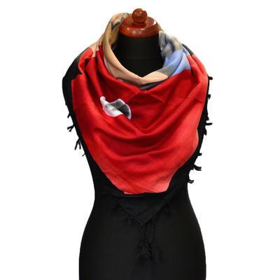 Maxi šátek - červenočerný se vzorem - 1
