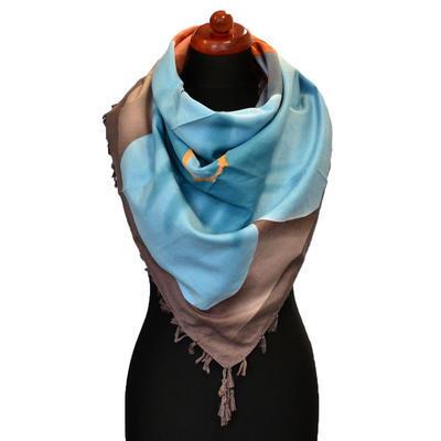 Maxi šátek - hnědomodrý se vzorem - 1