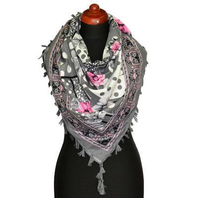 Maxi šátek - šedorůžový se vzorem - 1