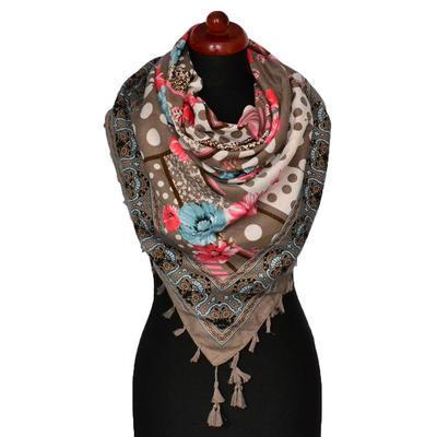 Maxi šátek - hnědý se vzorem - 1