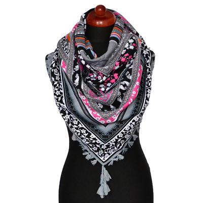 Maxi šátek - šedý se vzorem - 1
