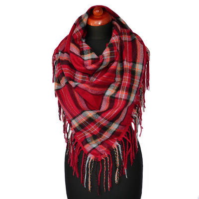 Maxi trojcípý šátek - červenošedý