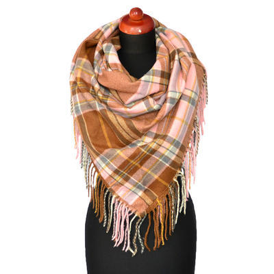 Maxi trojcípý šátek - hnědorůžový